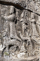 Depictions of gods on the end relief panel of the 13th century BC Hittite religious rock carvings of Yazılıkaya Hittite rock sanctuary, chamber A, Hattusa, Bogazale, Turkey.