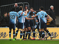 Blackpool's Bright Osayi-Samuel celebrates scoring his sides third goal with team-mates<br /> <br /> Photographer Kevin Barnes/CameraSport<br /> <br /> The EFL Sky Bet League Two - Saturday 18th March 2017 - Newport County v Blackpool - Rodney Parade - Newport<br /> <br /> World Copyright &copy; 2017 CameraSport. All rights reserved. 43 Linden Ave. Countesthorpe. Leicester. England. LE8 5PG - Tel: +44 (0) 116 277 4147 - admin@camerasport.com - www.camerasport.com