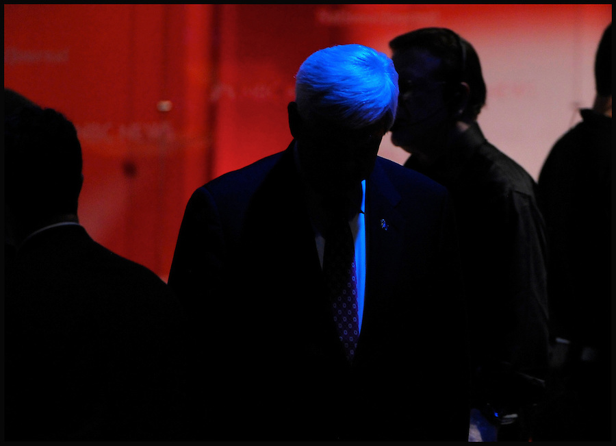 Republican presidential candidate Newt Gingrich (C) exits the stage temporarily during a break in the NBC News, Tampa Bay Times, National Journal Republican Presidential Candidates Debate at the University of South Florida in Tampa, Florida, USA, 23 January 2012. The Florida Primary is set for 31 January 2012.