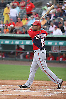Danny Espinosa (8) of the Washington Nationals at bat during a Grapefruit League Spring Training game at the Roger Dean Complex on March 24, 2014 in Jupiter, Florida. Washington defeated Miami 4-1. (Stacy Jo Grant/Four Seam Images)