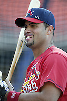 Albert Pujols of the St. Louis Cardinals before a 2002 MLB season game against the Los Angeles Dodgers at Dodger Stadium, in Los Angeles, California. (Larry Goren/Four Seam Images)