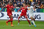 05.10.2019, BayArena, Leverkusen, GER, 1. FBL, Bayer 04 Leverkusen vs. RB Leipzig,<br />  <br /> DFL regulations prohibit any use of photographs as image sequences and/or quasi-video<br /> <br /> im Bild / picture shows: <br /> Matheus Cunha (RB Leipzig #20),  im Zweikampf gegen  Mitchell Weiser (Leverkusen #23), Jonathan Tah (Leverkusen #4), <br /> <br /> Foto © nordphoto / Meuter
