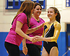 Bethpage gymnastics at Long Beach High School Monday, January 4, 2016. Amanda Ferraro with coaches Kim Rhatigan and Vicky Vitale.
