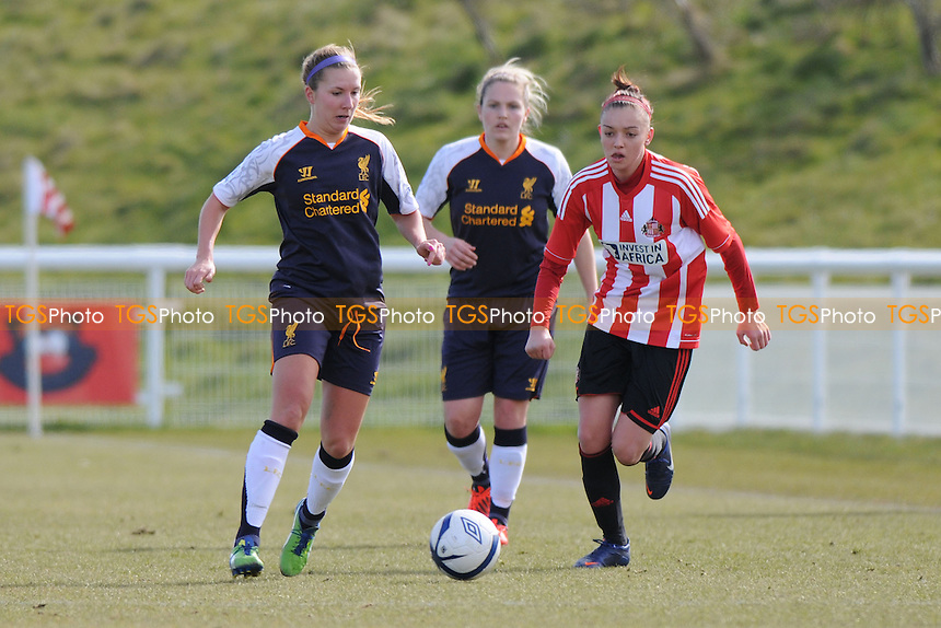 Louise Fors of Liverpool battles with Keira Ramshaw os Sunderland - Sunderland Women vs Liverpool Women - FA Womens Cup Quarter-Final at the Academy of Light - 31/03/13 - MANDATORY CREDIT: Steven White/TGSPHOTO - Self billing applies where appropriate - 0845 094 6026 - contact@tgsphoto.co.uk - NO UNPAID USE.