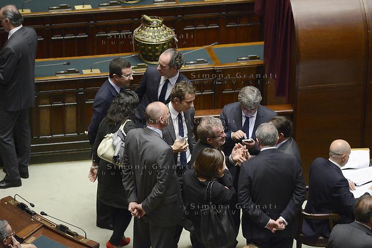 Roma, 18 Aprile 2013.Camera dei Deputati.Votazione del Presidente della Repubblica a camere riunite.Deputati e Senatori del Lega..Roberto Maroni