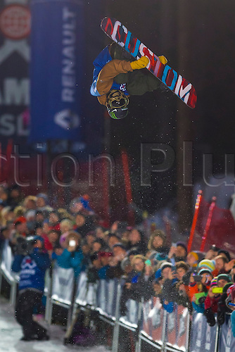 26.02.2016. Wyller Oslo Winter Park, Oslo, Norway. Red Bull X Games. Men's Snowboard SuperPipe Final Ayumu Hirano of Japan goes high during the men's Snowboard SuperPipe Final at the at the Wyller Oslo winter park in Oslo, Norway.