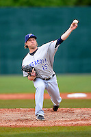 Pensacola Blue Wahoos pitcher Ryan Dennick #15 during a game against the Mobile BayBears on April 14, 2013 at Hank Aaron Stadium in Mobile, Alabama.  Mobile defeated Pensacola 5-2.  (Mike Janes/Four Seam Images)
