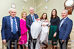 Twins Rory & Tom McAulliffe with their parents Jack  & Gillian McAulliffe, Listowel and their god parents Jeremiah Daly & Katie McAulliffe and Matie Daly & Paudie McAulliffe who were christened in Lixnaw Church by Fr. Jim Kennelly on Saturday last and afterwards at the Listowel Arms Hotel.