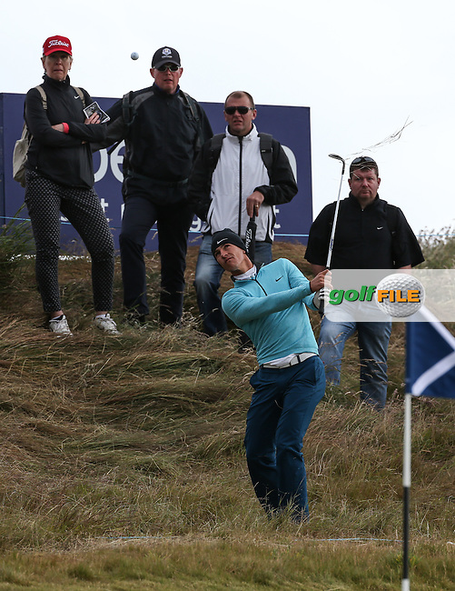 Thorbjorn Olesen (DEN) chips from the rough to the 13th during Round Two of the 2016 Aberdeen Asset Management Scottish Open, played at Castle Stuart Golf Club, Inverness, Scotland. 08/07/2016. Picture: David Lloyd | Golffile.<br /> <br /> All photos usage must carry mandatory copyright credit (&copy; Golffile | David Lloyd)