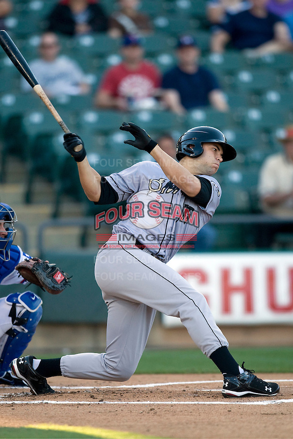 Omaha Storm Chaser first baseman Eric Hosmer at bat against the Round Rock Express in Pacific Coast League baseball on Monday April 11th, 2011 at Dell Diamond in Round Rock Texas.  (Photo by Andrew Woolley / Four Seam Images)