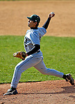 24 April 2007: Dartmouth College Big Green pitcher Andrew Nacario, a Senior from Carlsbad, CA, on the mound against the University of Vermont Catamounts at Historic Centennial Field, in Burlington, Vermont...Mandatory Photo Credit: Ed Wolfstein Photo