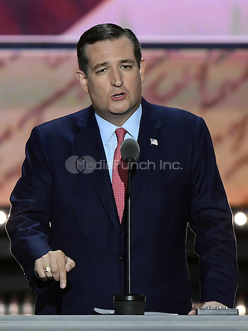 United States Senator Ted Cruz (Republican of Texas) makes remarks at the 2016 Republican National Convention held at the Quicken Loans Arena in Cleveland, Ohio on Wednesday, July 20, 2016.<br /> Credit: Ron Sachs / CNP/MediaPunch<br /> (RESTRICTION: NO New York or New Jersey Newspapers or newspapers within a 75 mile radius of New York City)