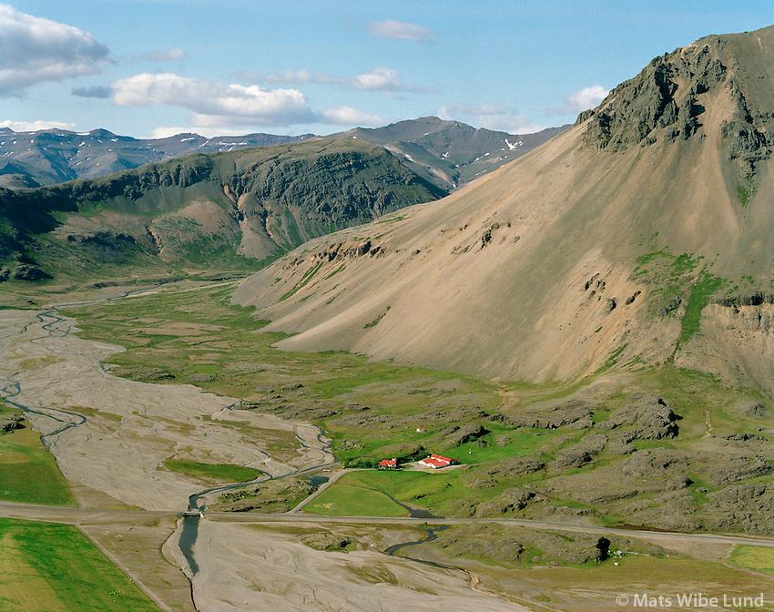 Reyðará séð til norðvesturs, Bæjarhreppur í Lóni / Reydara viewing northwest, Baejarhreppur in Lon.