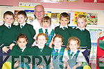 Aughatubrid National School junior infants Nicole Roddy, Rebecca Corcoran, Chloe Sheehan, Caoimhe Cournane, Ciaran O'Connell, Jack Sugrue, Niamh McCrohan, William Galvin, Fergal O'Shea with teacher Peter Coppin on Wednesday.   Copyright Kerry's Eye 2008