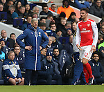 Arsenal's Arsene Wenger complans of a foul on Olivier Giroud by Tottenham's Danny Rose<br /> <br /> Barclays Premier League- Tottenham Hotspurs vs Arsenal  - White Hart Lane - England - 7th February 2015 - Picture David Klein/Sportimage