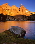 Alpenglow on the Ritter Range at Minaret Lake, Ansel Adams Wilderness, Eastern Sierra, California