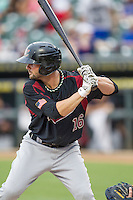 Sacramento River Cats shortstop Andy Parrino (16) at bat during the Pacific Coast League baseball game against the Round Rock Express on June 19, 2014 at the Dell Diamond in Round Rock, Texas. The Express defeated the River Cats 7-1. (Andrew Woolley/Four Seam Images)