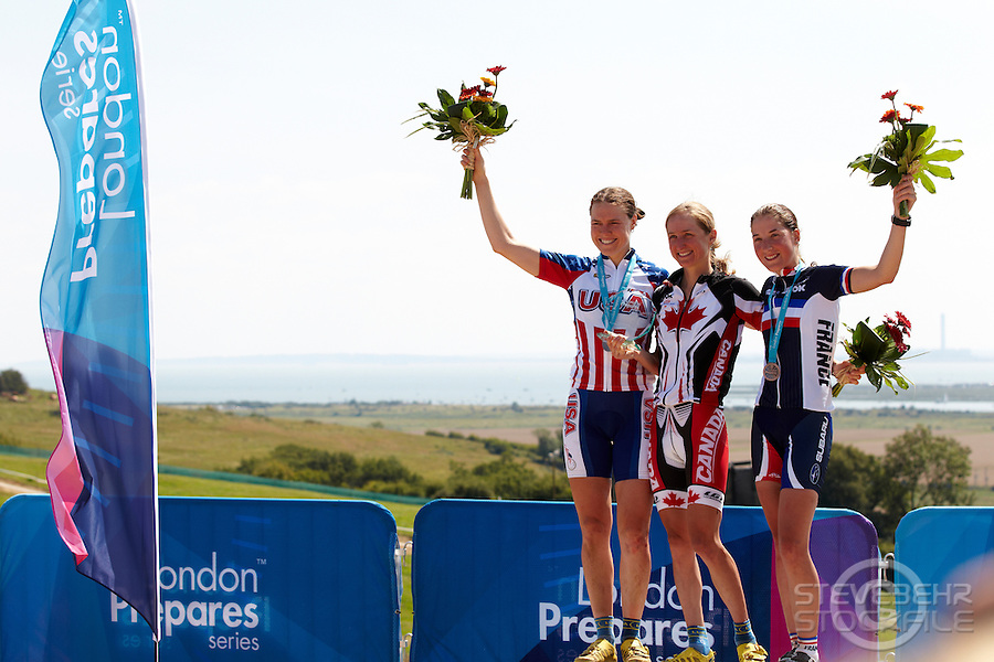 Womens Podium  Georgia Gould , Catharine Pendrel , Julie Bresset  .  London Prepares Mountain Bike Olympic Test Event , Hadleigh Farm , Essex , July 2011 pic copyright Steve Behr / Stockfile