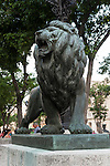 Havana, Cuba; one of the eight bronze lions symbolizing Havana that were added to the Paseo del Prado in 1927