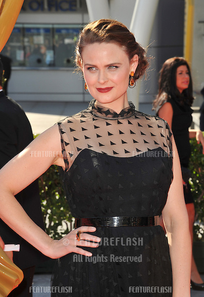 Emily Deschanel at the 2012 Primetime Creative Emmy Awards at the Nokia Theatre, LA Live..September 15, 2012  Los Angeles, CA.Picture: Paul Smith / Featureflash