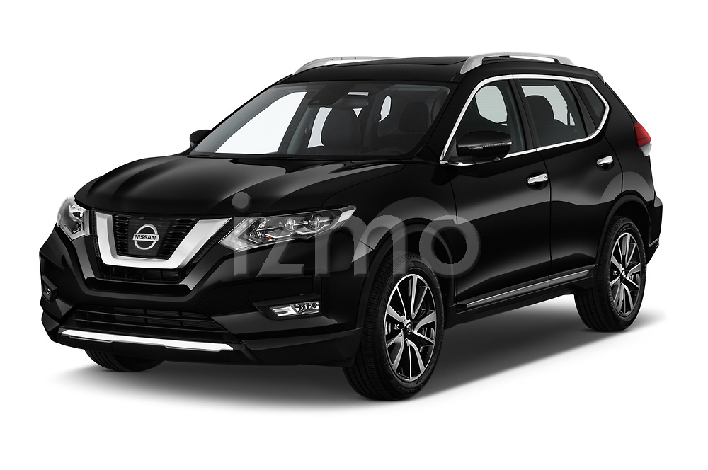 2019 Nissan X-Trail Tekna 5 Door SUV angular front stock photos of front three quarter view