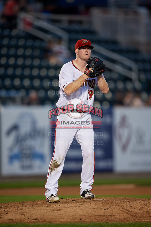 Harrisburg Senators starting pitcher Logan Darnell (19) gets ready to deliver a pitch during a game against the Erie SeaWolves on August 29, 2018 at FNB Field in Harrisburg, Pennsylvania.  Harrisburg defeated Erie 5-4.  (Mike Janes/Four Seam Images)