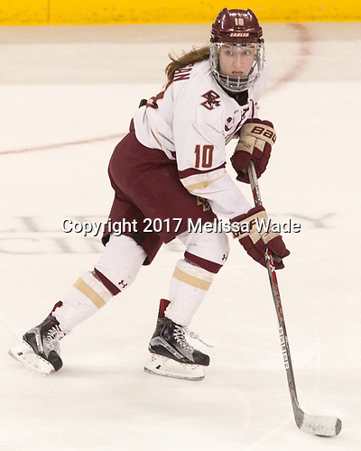 Kali Flanagan (BC - 10) - The number one seeded Boston College Eagles defeated the eight seeded Merrimack College Warriors 1-0 to sweep their Hockey East quarterfinal series on Friday, February 24, 2017, at Kelley Rink in Conte Forum in Chestnut Hill, Massachusetts.The number one seeded Boston College Eagles defeated the eight seeded Merrimack College Warriors 1-0 to sweep their Hockey East quarterfinal series on Friday, February 24, 2017, at Kelley Rink in Conte Forum in Chestnut Hill, Massachusetts.