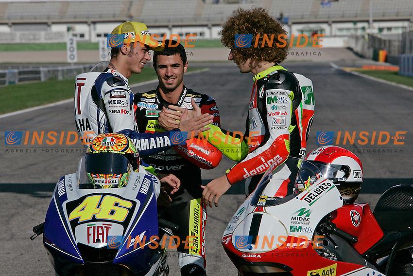&copy; Simone Rosa/Semedia<br /> 27-10-2008 Valencia (Esp)<br /> Motogp - moto<br /> nella foto: Mike Di Meglio, Valentino Rossi and  Marco Simoncelli