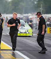 Aug 19, 2018; Brainerd, MN, USA; Crew member for NHRA funny car driver Jonnie Lindberg during the Lucas Oil Nationals at Brainerd International Raceway. Mandatory Credit: Mark J. Rebilas-USA TODAY Sports