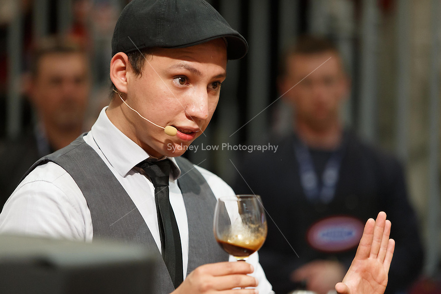 MELBOURNE, 25 May: William HERNANDEZ from El Salvador competing in the semifinals and winning a spot in the final 6 competitors of the 2013 World Barista Championship at the Melbourne Show Grounds in Melbourne, Australia. The national champions of Australia, Italy, Ireland, New Zealand, United States and El Salvador made the final after 3 days of competition with the national barista champions of 52 countries.. Photo Sydney Low / syd-low.com