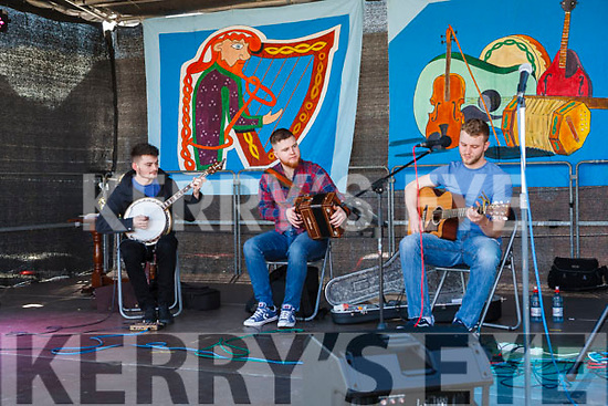 """Fleadh By The Feale Junior Bones Competition held Sunday afternoon Entertainment was performed by local group """"Fugazi"""" prior to the Bones competition. Conor Horgan, David Healy & Brian Holmes."""