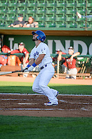 Hunter Redman (5) of the Ogden Raptors at bat against the Idaho Falls Chukars in Pioneer League action at Lindquist Field on June 23, 2015 in Ogden, Utah. Idaho Falls beat the Raptors 9-6.(Stephen Smith/Four Seam Images)