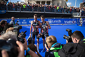 June 11th 2017, Leeds, Yorkshire, England; ITU World Triathlon Leeds 2017; Brothers Alistair Brownlee and Jonathan Brownlee (gbr) celebrate in front of the media