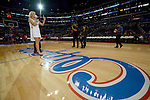"LOS ANGELES, CA - MARCH 12:  ""One Day One Game"" The national anthem is sung before the game against the Golden State Warriors during their NBA Game at the Staples Center  on March 12, 2014 in Los Angeles, California.  (Photo by Donald Miralle for ESPN the Magazine)"