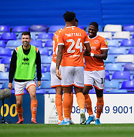 Blackpool's Sullay Kaikai, right, celebrates scoring the opening goal with team-mates, from left, Curtis Tilt and Joe Nuttall<br /> <br /> Photographer Chris Vaughan/CameraSport<br /> <br /> The EFL Sky Bet League One - Coventry City v Blackpool - Saturday 7th September 2019 - St Andrew's - Birmingham<br /> <br /> World Copyright © 2019 CameraSport. All rights reserved. 43 Linden Ave. Countesthorpe. Leicester. England. LE8 5PG - Tel: +44 (0) 116 277 4147 - admin@camerasport.com - www.camerasport.com