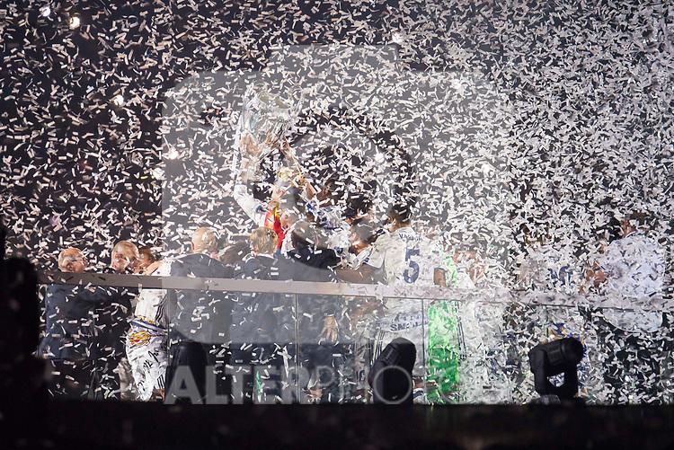 Real Madrid during the celebration of the 13th UEFA Championship at Santiago Bernabeu Stadium in Madrid, June 04, 2017. Spain.<br /> (ALTERPHOTOS/BorjaB.Hojas)