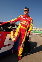 Sept. 27, 2008; Kansas City, KS, USA; NASCAR Nationwide Series driver Kasey Kahne during qualifying prior to the Kansas Lottery 300 at Kansas Speedway. Mandatory Credit: Mark J. Rebilas-