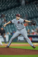 Mississippi State Bulldogs relief pitcher Keegan James (18) in action against the Sam Houston State Bearkats during game eight of the 2018 Shriners Hospitals for Children College Classic at Minute Maid Park on March 3, 2018 in Houston, Texas. The Bulldogs defeated the Bearkats 4-1.  (Brian Westerholt/Four Seam Images)