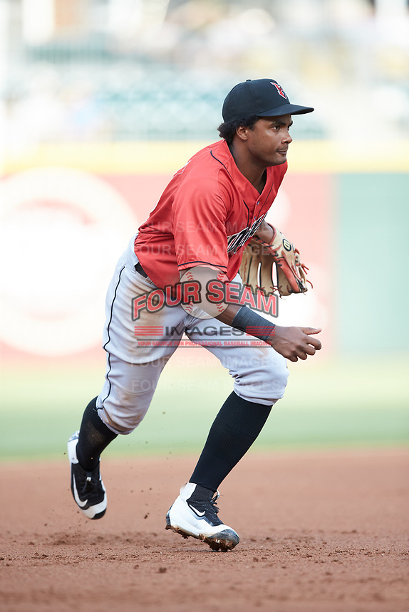 Indianapolis Indians third baseman Pablo Reyes (12) on defense against the Charlotte Knights at BB&T BallPark on May 26, 2018 in Charlotte, North Carolina. The Indians defeated the Knights 6-2.  (Brian Westerholt/Four Seam Images)