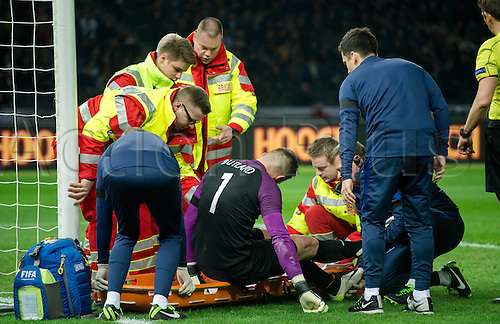 26.03.2016. Olympiastadion Berlin, Berlin, Germany.  England's goalkeeper Jack Butland is treated after suffering an injury during the international friendly soccer match between Germany and England at the Olympiastadion