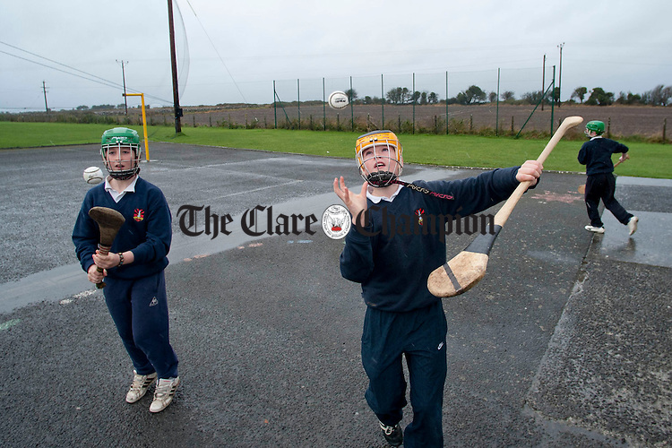 Practising hurling skills during breaktime at Scoil Eoin in Gort. Photograph by Declan Monaghan