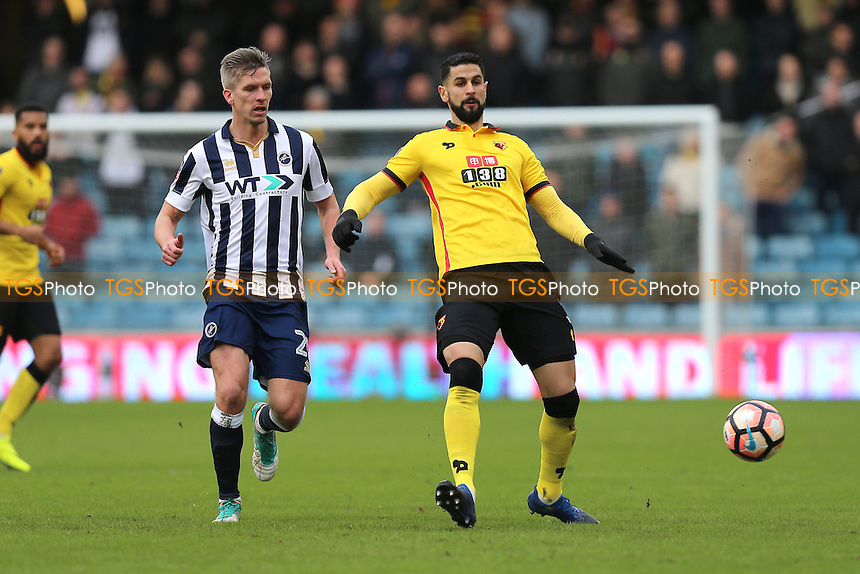 Miguel Angel Britos of Watford and Steve Morison of Millwall during Millwall vs Watford, Emirates FA Cup Football at The Den on 29th January 2017