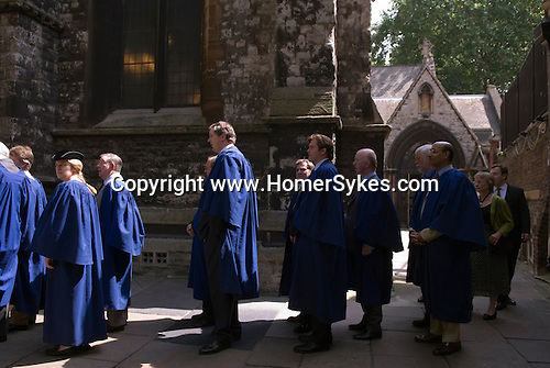 The annual civic service,  St Mary Abbots, Kensington Parish Church.  The Royal Borough of Kensington and Chelsea London W8. England. 2006. Newly elected councillors in blue robes.
