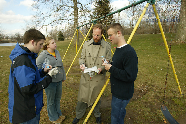 Prof. Dennis Jacobs and students test for lead-based paint in Pinhook Park in South Bend