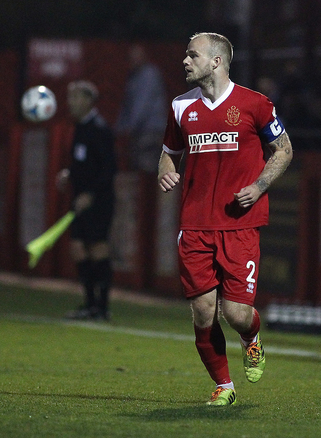 Alfreton Town's Bradley Wood<br /> <br /> Photo by Rich Linley/CameraSport<br /> <br /> Football - English Football Vanarama Conference Premier League - Alfreton Town v AFC Telford United - Tuesday 16th September 2014 - Impact Arena - Alfreton<br /> <br /> &copy; CameraSport - 43 Linden Ave. Countesthorpe. Leicester. England. LE8 5PG - Tel: +44 (0) 116 277 4147 - admin@camerasport.com - www.camerasport.com