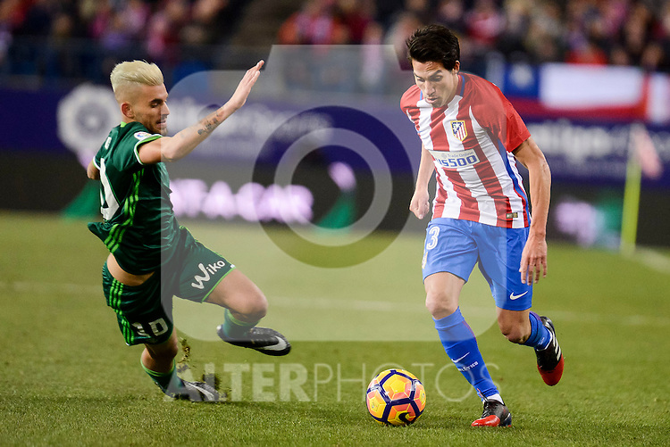 Atletico de Madrid's Nico Gaitán and Real Betis's Dani Ceballos during La Liga match between Atletico de Madrid and Real Betis at Vicente Calderon Stadium in Madrid, Spain. January 14, 2017. (ALTERPHOTOS/BorjaB.Hojas)