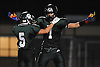 Lindenhurst linebacker No. 1 Jeremy Ruckert, right, gets congratulated by No. 5 Rick Conway after recording a sack in the second quarter of a Suffolk County Division I varsity football game against Connetquot at Lindenhurst Middle School on Friday, September 18, 2015.<br /> <br /> James Escher