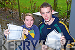SIBLING RIVALRY: Brother and sister Sarah and John Higgins, Tralee, both students of Mercy Mounthawk receiving their Leaving Cert results on Wednesday morning.