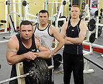 Power lifting champions Damien Casey, Tom Humphreys and John Martin Cahill pictured in Sporty's Gym, Killarney.  Picture: Eamonn Keogh (MacMonagle, Killarney)
