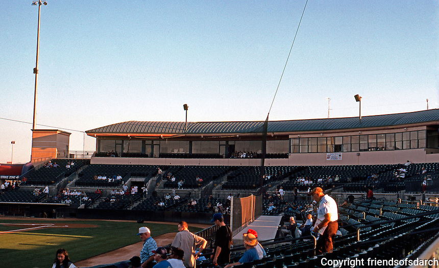 "Ballparks: Lancaster Municipal Stadium Grandstand with ""skyboxes"". Light pre-game crowd on Tues. in Aug. '99."